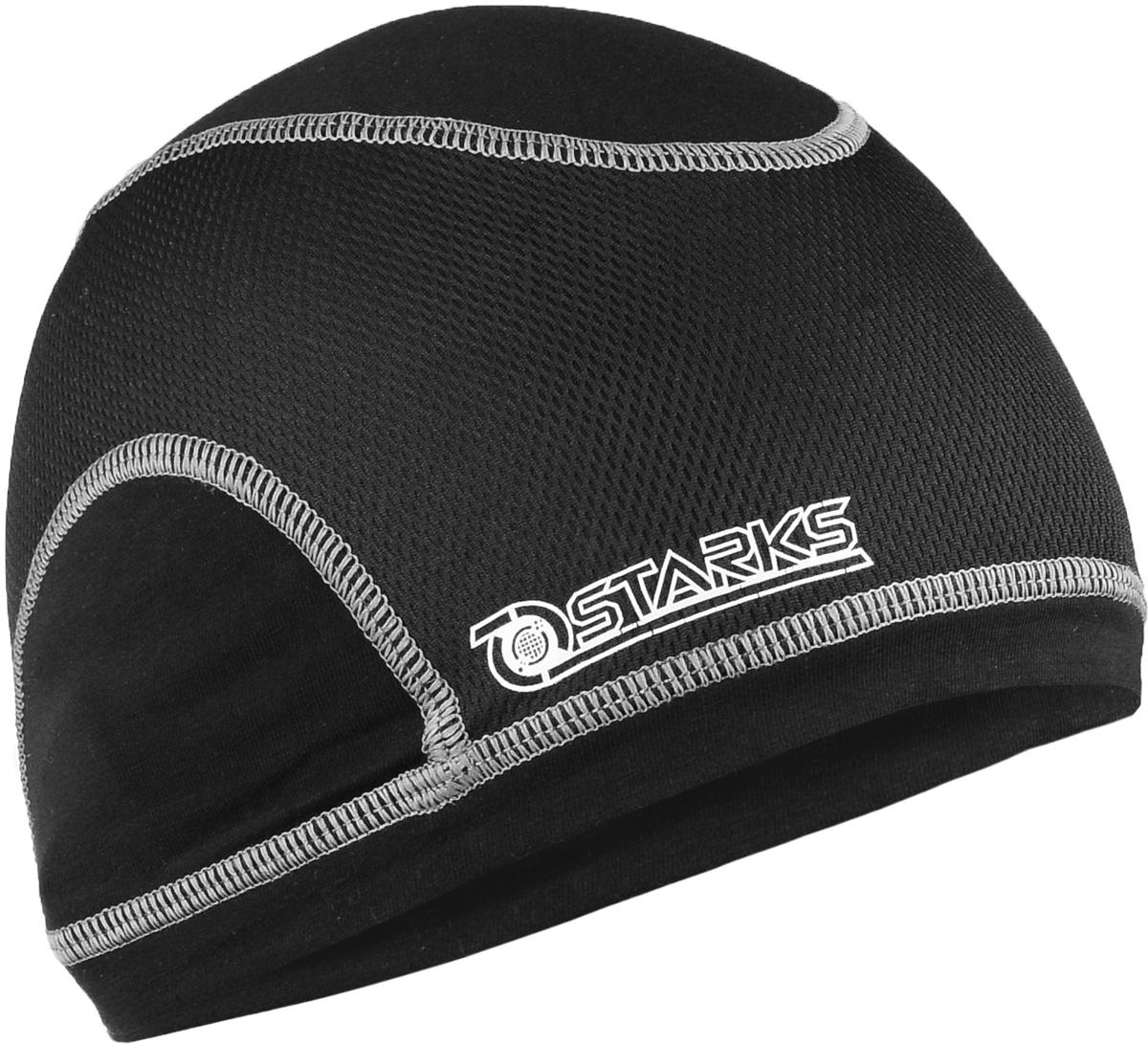 Подшлемник-шапочка Starks Half, цвет: черный, серыйone116Комбинированный подшлемник-шапочка Starks Half предназначен для использования с открытым шлемом. Анатомическая форма не создает складок на голове. Особенность модели заключается в перфорации. Терморегулирующая сетка создает прохладу голове, исключает эффект полиэтилена. Прекрасно выводит пот, жар. Изделие возможно использовать в различных видах спорта и как спортивный аксессуар (головной убор), в повседневной жизни. Высота изделия: 15 см.Ширина изделия: 24 см.