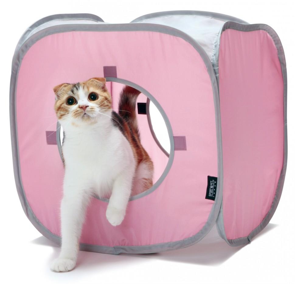 Домик для кошек SportPet Designs Кубик Рубика, цвет: розовый, 38 х 38 х 38 см0120710Домик для кошек SportPet Designs Кубик Рубика прекрасно подойдет для активных и веселых животных. Домик выполнен из высокопрочной ткани, устойчивой к повреждениям. Встроенный гибкий каркас позволяет просто собирать и разбирать домик, облегчая транспортировку и хранение. Подходит как для сна, так и для развлечений, а отверстия дают возможность играть в прятки. Висячие кисточки стимулируют игривый интерес. Есть возможность крепления подвесных игрушек к корпусу домика. Изделие содержит закрепляющие петли, благодаря чему можно добавлять другие кубы для создания большой игровой площадки. Домик отлично подходит для использования в составе других игровых комплексов. Он привлечет внимание вашего любимца и не оставит его равнодушным.