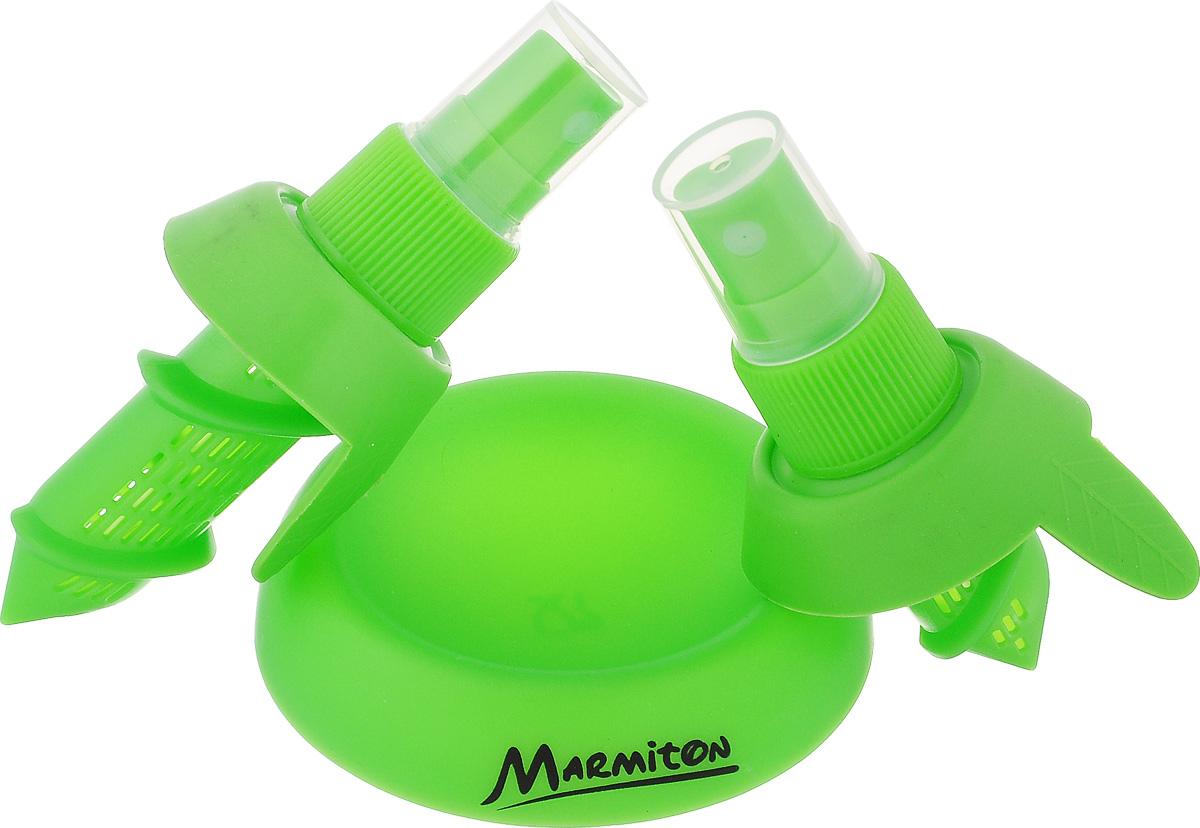 Спрей для цитрусовых Marmiton, цвет: зеленый28941Придать вашему фирменному блюду или напитку настоящий цитрусовый вкус поможет цитрусовый спрей. Он представляет собой набор из двух клапанов, которые используются в простейших пульверизаторах. Клапаны имеют разные размеры для использования с цитрусовыми различных размеров. Метод использования удивительно прост: срежьте верхнюю часть плода и ввинтите в мякоть один из клапанов. Уникальный цитрусовый спрей готов! Теперь достаточно одного легкого нажатия пальцем, и ваши блюда дополнятся ароматом натуральных цитрусовых фруктов! Цитрусовый спрей можно использовать для всех видов цитрусовых, лимонов и апельсинов, мандаринов, лаймов, грейпфрутов и других.В наборе два спрея (для больших и маленьких плодов) и подставка. Предметы набора выполнены из высококачественного полипропилена и силикона.Размер большого спрея: 10 х 6 х 4,5 см.Размер малого спрея: 8 х 6 х 4,5 см.Диаметр подставки: 7,5 см.Высота подставки: 1,5 см.