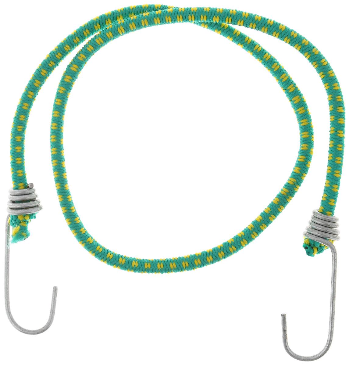 Резинка багажная МастерПроф, с крючками, цвет: зеленый, желтый, 0,6 х 80 см. АС.020021Ветерок 2ГФБагажная резинка МастерПроф, выполненная из синтетического каучука, оснащена специальными металлическими крючками, которые обеспечивают прочное крепление и не допускают смещения груза во время его перевозки. Изделие применяется для закрепления предметов к багажнику. Такая резинка позволит зафиксировать как небольшой груз, так и довольно габаритный.Материал: синтетический каучук.Температура использования: -15°C до +50°C.Безопасное удлинение: 60%.Диаметр резинки: 0,6 см.Длина резинки: 80 см.