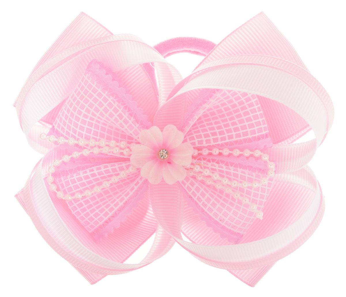 Baby's Joy Резинка для волос с цветком цвет розовый белый