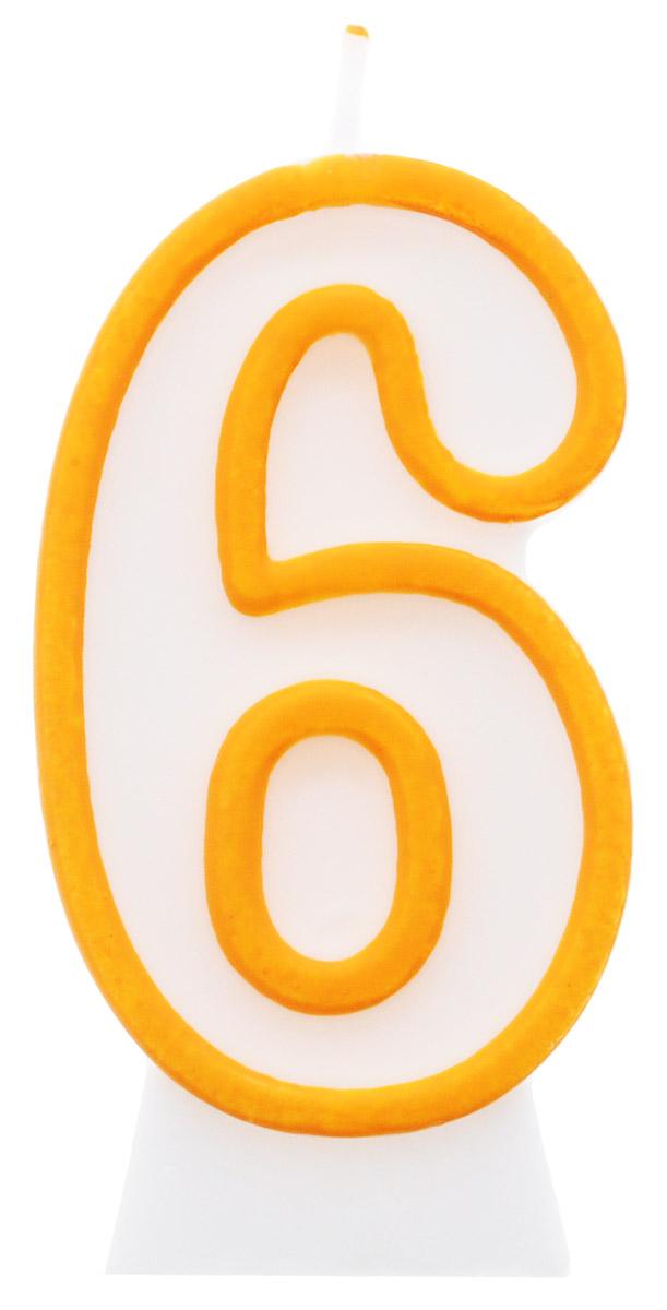 """Свеча-цифра для торта """"Susy Card"""" выполнена в виде цифры """"6"""" из белого парафина с желтым контуром по краям. Свеча-цифра создает неповторимую атмосферу праздника и прекрасно вписывается в любой интерьер. Свеча для торта - отличный способ порадовать ребенка в его День рождения или любое другое торжество."""