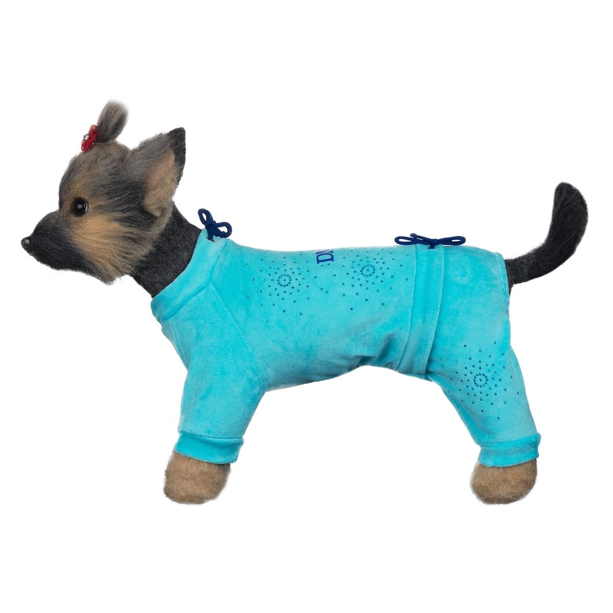 Dogmoda Комбинезон для собак велюровый Галактика-3 (голубой)DM-160107-3Красивый и уютный велюровый комбинезон модного цвета, украшен стразами. Две затяжки - на шее и животе, позволят этому комбинезону идеально сидеть на собаке любого телосложения.