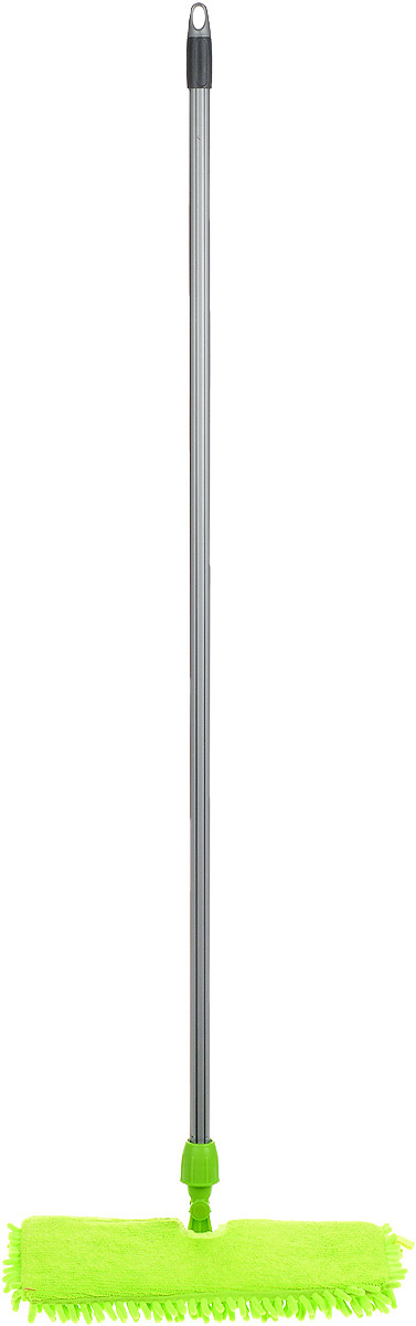 Швабра Мир чистоты Синель Дуо, двусторонняя с прорезиненной ручкой, цвет: салатовый, длина 118 смS03301004Двусторонняя швабра Мир чистоты Синель Дуо с насадкой из микрофибры широко используется для сухой и влажной уборки любых напольных поверхностей. Благодаря уникальным свойствам микрофибры сухая насадка легко удаляет пыль и в три раза лучше впитывает влагу, чем обычный хлопок. Насадку легко снять с помощью липучек. Прорезиненная алюминиевая ручка удобно и надежно будет лежать в руке. Швабра Мир чистоты Синель Дуо - лучший помощник в доме! Длина швабры: 118 см.Размер насадки: 36 х 13 х 2 см.