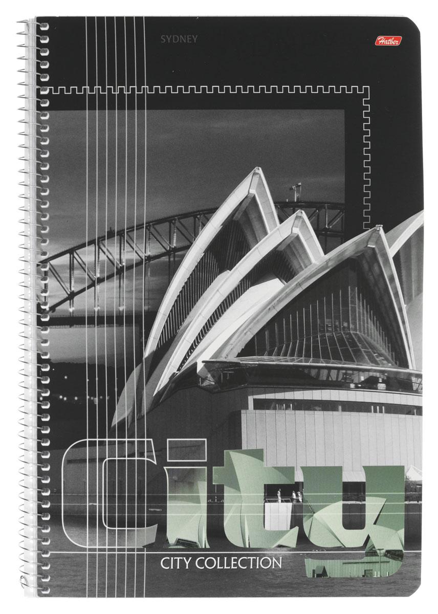 Hatber Тетрадь City Collection Sydney 80 листов в клетку72523WDТетрадь Hatber City Collection. Sydney отлично подойдет для занятий как школьнику старших классов, так и студенту.Стильная обложка в черно-белых тонах с изображением сиднейской оперы, выполненная из плотного мелованного картона, позволит сохранить тетрадь в аккуратном состоянии на протяжении всего времени использования.Внутренний блок тетради, соединенный металлической спиралью, состоит из 80 листов белой бумаги в голубую клетку без полей.
