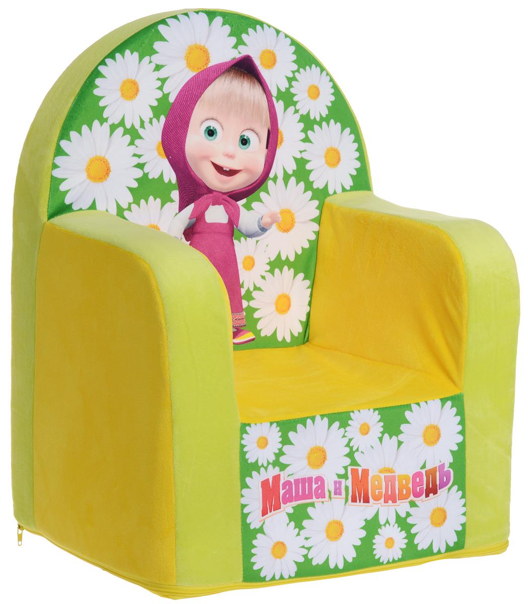 СмолТойс Мягкая игрушка Кресло Маша и Медведь цвет желтый 54 смFS-80264Мягкая игрушка СмолТойс Кресло Маша и Медведь отлично украсит любую детскую комнату!Мягкая игрушка выполнена в виде кресла и изготовлена с учетом размеров тела ребенка без применения деревянных конструкций. Такая игрушка полностью мягкая, удобная для малыша, выполнена из экологичных и качественных материалов. Особенно кресло понравится тем малышам, которые обожают мультфильмы про Машу и Медведя. Кресло имеет яркую окраску и практичный съемный чехол на застежке-молнии, который при необходимости вы сможете постирать.Ваш ребенок будет в восторге от такого подарка!