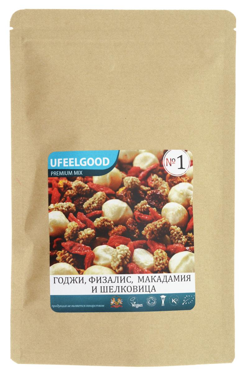 UFEELGOOD Premium Mix №1 (годжи, физалис, макадамия, шелковица), 100 г0120710Трейл-микс UFEELGOOD Premium Mix №1 (годжи + физалис + макадамия + шелковица) – это уникальная смесь ягод и орехов. Она состоит из наиболее редких, но необходимых организму полезных веществ.Годжи. Эта ягода богата цинком, йодом и другими элементами. Улучшает качество крови и снижает риск образования раковых опухолей.Физалис. Полезная ягода, утоляет боль и борется с воспалениями. Богата витаминами А, С, биофлавоноидами. Улучшает память и состояние кожи.Макадамия. Редкий австралийский орех. Содержит цинк, селен и другие ценные элементы. Улучшает память.Шелковица. Ягода, которая содержит большое количество калия, кальция, витаминов, микроэлементов, макроэлементов. Это кладезь, который обогащает организм человека антиоксидантами, помогает работе сердца.