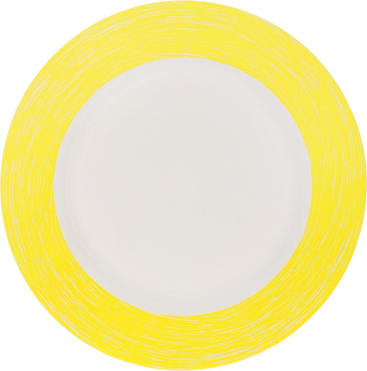 Тарелка десертная Luminarc Color Days Yellow, 19 см115510Десертная тарелка Luminarc Color Days Yellow, изготовленная из ударопрочного стекла, имеет изысканный внешний вид. Такая тарелка прекрасно подходит как для торжественных случаев, так и для повседневного использования. Идеальна для подачи десертов, пирожных, тортов и многого другого. Она прекрасно оформит стол и станет отличным дополнением к вашей коллекции кухонной посуды. Диаметр тарелки (по верхнему краю): 19 см.