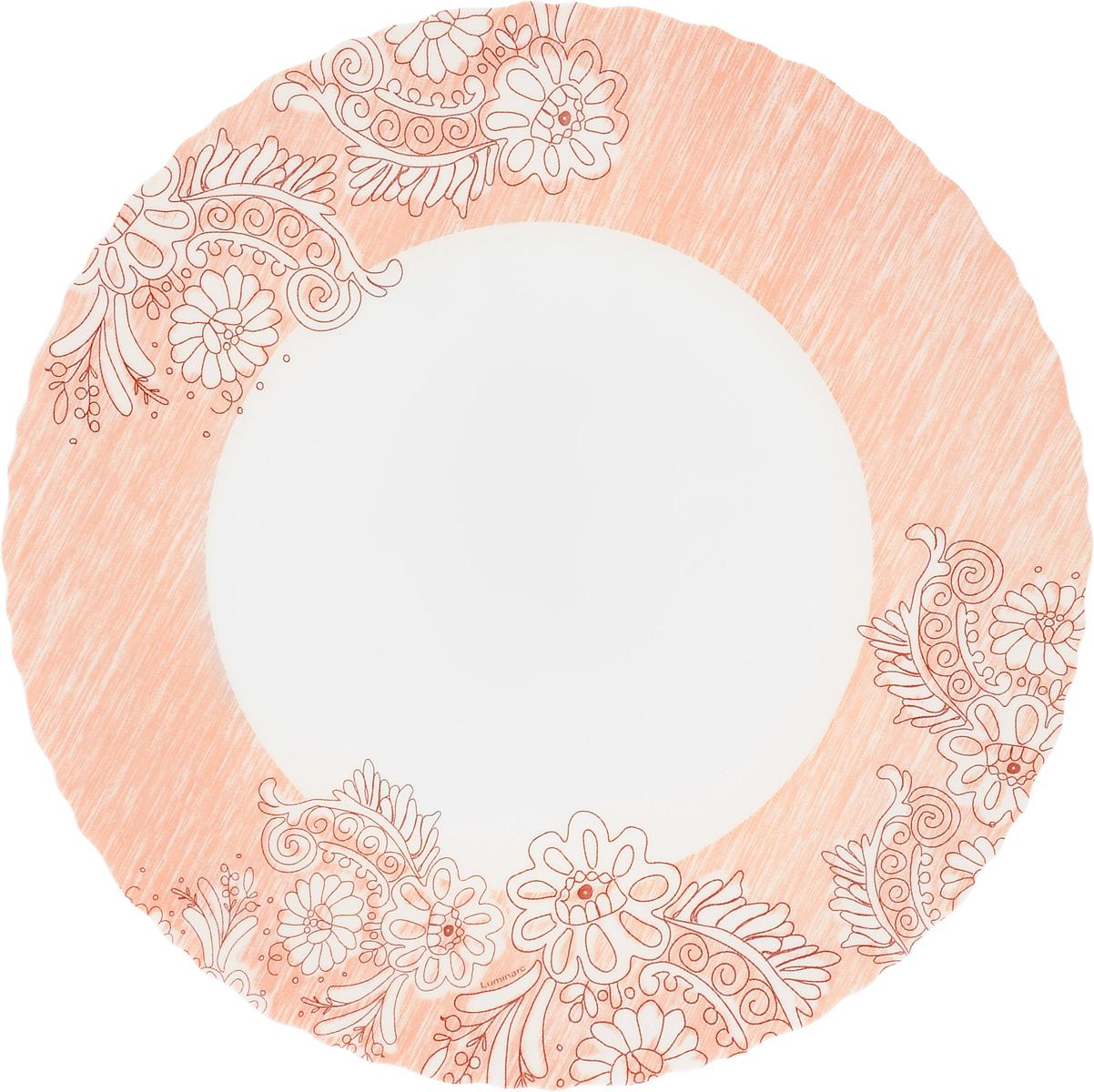 Тарелка обеденная Luminarc Minelly Pink, диаметр 25 смJ7032Обеденная тарелка Luminarc Minelly Pink, изготовленная из ударопрочного стекла, имеет изысканный внешний вид. Яркий дизайн придется по вкусу и ценителям классики, и тем, кто предпочитает утонченность. Тарелка Luminarc Minelly Pink идеально подойдет для сервировки вторых блюд из птицы, рыбы, мяса или овощей, а также станет отличным подарком к любому празднику.Диаметр тарелки (по верхнему краю): 25 см.