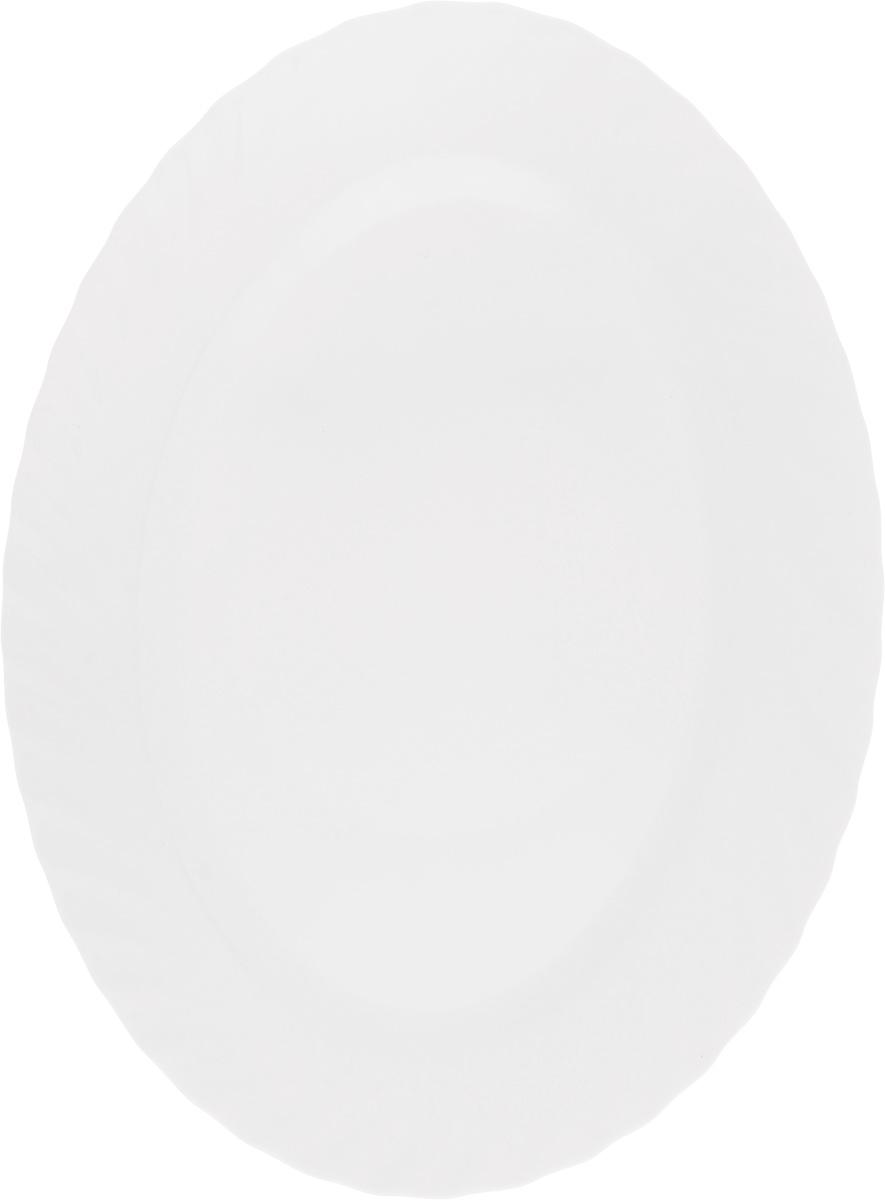 Блюдо Luminarc Trianon, 35 х 26 смE9667Оригинальное блюдо Luminarc Trianon изготовлено изударопрочного стекла и имеет овальную форму. Оно доставит истинное удовольствие ценителям прекрасного. Яркий дизайн, несомненно, придется вам по вкусу. Размер блюда (по верхнему краю): 35 х 26 см.