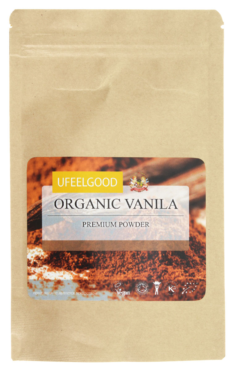 UFEELGOOD Organic Vanilla Premium Powder органическая ваниль молотая, 50 г24Ваниль от является единственным представителем орхидных, который можно употреблять в пищу. Она имеет сложный насыщенный вкус, который включает в себя около 250 органических компонентов и может варьироваться в зависимости от региона произрастания. Экстракт натурального ванилина издавна считался целебным. Индейцы приписывали порошку ванили способность исцелять болезни горла, кашель, озноб, лихорадку, использовали как противоядие при укусах змей. Европейцы применяли ваниль при повышенной возбудимости и ревматизме. Вы можете купить ваниль от UFEELGOOD, выращенную на лучших плантациях Индии. Термоупаковка, в которой бережно хранится продукт, позволяет донести до потребителя его самые лучшие качества.