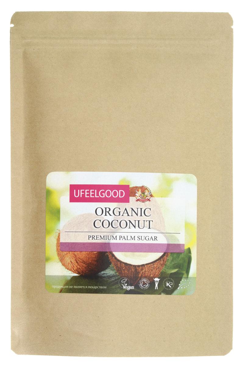 UFEELGOOD Organic Coconut Palm Sugar органический сахар кокосовой пальмы, 200 г0120710Сахар – один из тех продуктов, без которых сложно представить наш ежедневный рацион. Выпечка, десерты, сладости – все это создано с использованием сахара и без него имело бы совершенно иной вкус. К сожалению, сахар – еще и опасный продукт, поскольку его регулярное употребление может спровоцировать возникновение сахарного диабета, лишнего веса, проблем с зубами. Но не спешите расстраиваться, дорогие сладкоежки! Ведь чтобы избежать этого, не нужно отказываться от любимых блюд, просто поменяйте вредные сахара на органический натуральный подсластитель – кокосовый сахар.Полезные свойства кокосового сахараКокосовый сахар от UFEELGOOD станет отличной, безопасной и вкусной альтернативой традиционному сахару. Сохраняя насыщенный вкус десертов и сладостей, продукт оказывает положительное влияние на организм, заряжая энергией и даря хорошее настроение. Полезные свойства такого органического сахара объясняются тем, что в его состав входит множество полезных веществ.Глутамин – основная аминокислота, предназначена для поддержания и укрепления иммунной системы. Кроме того, она ускоряет процесс восстановления тканей. Кстати, сахар кокосовой пальмы содержит еще 15 аминокислот, кроме глутамина.12 витаминных комплексов группы В – это мощное средство для борьбы с депрессией, стрессами и нервным напряжением. В сочетании с инозитолом, также присутствующим в составе кокосового сахара, витамины группы В восстанавливают гармонизируют нервную систему и укрепляют сердце. А ведь здоровая нервная система – как раз то, что нужно каждому из нас!Одно из важнейших преимуществ сахара кокосовой пальмы от UFEELGOOD перед традиционным – его низкий гликемический индекс. Благодаря этому съеденные углеводы превращаются в глюкозу намного медленнее, повышая в крови уровень сахара постепенно и давая мощный заряд энергии на долгое время, но не вредя организму. Это крайне важно для диабетиков: они могут купить кокосовый сахар