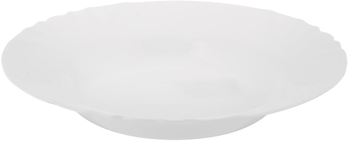 Тарелка глубокая Luminarc Cadix, диаметр 23,5 см730_белая/обезьянаГлубокая тарелка Luminarc Cadix выполнена из ударопрочного стекла. Изделие сочетает в себеизысканный дизайн с максимальной функциональностью. Она прекрасно впишется в интерьер вашей кухни и станет достойным дополнением к кухонному инвентарю. Тарелка Luminarc Cadix подчеркнет прекрасный вкус хозяйки и станет отличным подарком. Диаметр тарелки по верхнему краю: 23,5 см.
