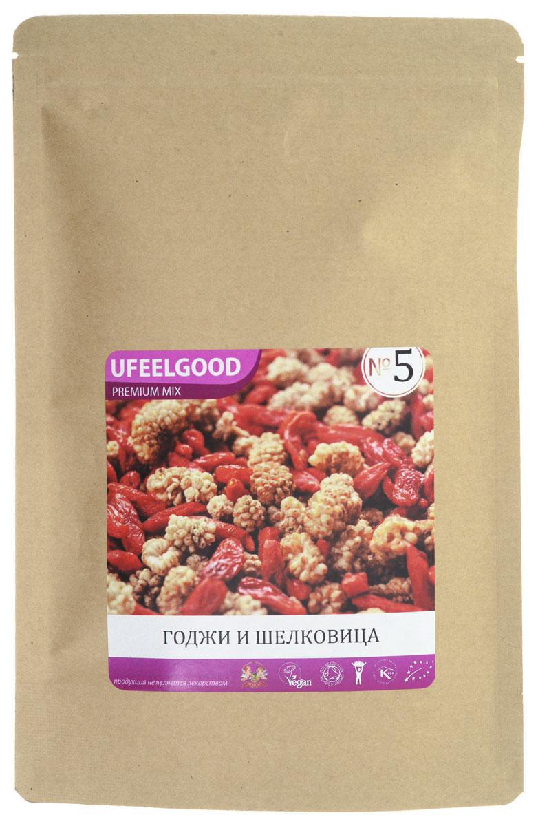 UFEELGOOD Premium Mix №5 (годжи, шелковица), 100 г0120710Трэйл-микс UFEELGOOD Premium Mix №5 – смесь из высокопитательных супер-продуктов, которая прекрасно подходит в качестве закуски. Главными ингредиентами этого Трэйл-микса являются ягоды годжи и шелковицы. Древние кочевники первыми оценили преимущества Трэйл-миксов – мощные растительные продукты удобны для транспортировки, не требуют приготовления и обеспечивают организм необходимой энергией.Сегодня Трэйл-миксы – это высокоэффективный продукт, являющийся усовершенствованным вариантом фруктовой смеси. Мы позаботились о том, чтобы соединить самые мощные и вкусные натуральные продукты. Каждый ингредиент смесей сам по себе является уникальным супер-продуктом, а комплекс таких супер-продуктов гораздо полезнее каждого отдельного компонента. Любой из предлагаемых Трэйл-миксов – это прекрасный источник энергии, антиоксидантов и питательных веществ. Трэйл-микс – это идеальный энергетик для современных путешественников и искателей приключений, которым можно перекусить в течение насыщенного событиями дня.Годжи. Ароматная ягода. Содержит йод, который так необходим для правильной работы щитовидной железы. Цинк улучшает память, состояние волос. Великолепный плод, который в сочетании с шелковицей предотвращает развитие рака и других заболеваний.Шелковица. Не просто вкусная ягода, но и отличный питательный продукт, который полон необходимых человеку микро- и макроэлементов, витаминов. Шелковица – это ценный кладезь полезных веществ. Антиоксиданты продлевают молодость, калий и натрий улучшают работу сердца, а бета-каротин предотвращает инсульты и стимулирует иммунную систему.