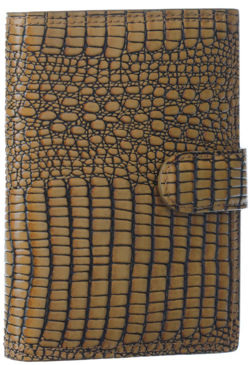 Обложка для документов женская Leo Ventoni, цвет: светло-коричневый. L330510A52_108Стильная обложка для документов Leo Ventoni выполнена из натуральнойкожи с тиснением под рептилию. Подкладка из полиэстера. Изделиераскладывается пополам и закрывается хлястиком на магнитную кнопку. Внутриразмещены вкладыш на металлической спирали из прозрачного мягкого пластика спятью файлами для автодокументов, шесть кармашков для кредитных карт, двабоковых кармана для вкладыша или паспорта и один боковой карман для мелочей. Изделие поставляется в фирменной упаковке. Оригинальная обложка дляавтодокументов Leo Ventoni станет отличным подарком для человека, ценящегокачественные и практичные вещи.