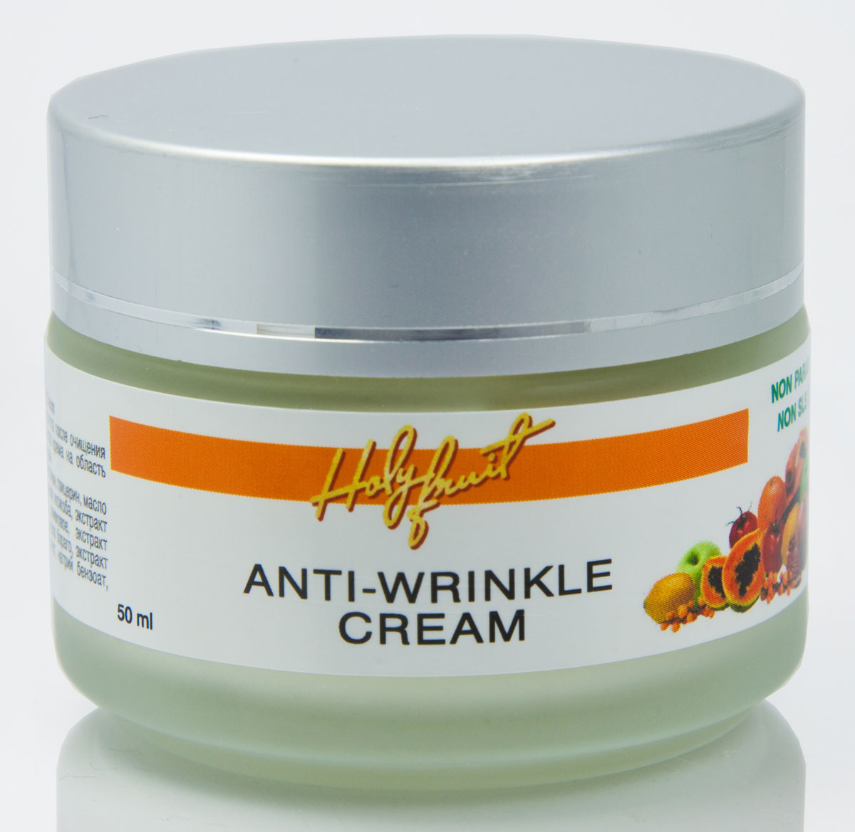 Holy Fruit Крем Крем против морщин Anti-Wrinkle Cream, 50 мл8482Для создания этого активного антивозрастного крема отобраны самые эффективные компоненты, наполняющие энергией, питающие кожу на клеточном уровне. Примула вечерняя, особенно значимой для женщины, разглаживает кожу, повышает ее упругость и эластичность. Экстракт настурции и масло облепихи справляются с усталостью кожи, наполняя ее влагой и природным витамином Е, осветляют пигментные пятна. Масло огуречника (бораго) запускает деление клеток и обновление эпидермиса, смягчает выраженности морщинок. Экстракт яблока, алоэ укрепляют стенки сосудов, кожа заметно подтягивается. При регулярном использовании исчезает сосудистая сеточка. Масло и экстракт календулы активизируют процессы обмена в клеточной структуре, восстанавливают поврежденные клетки кожи. Крем обладает лифтинговым эффектом.