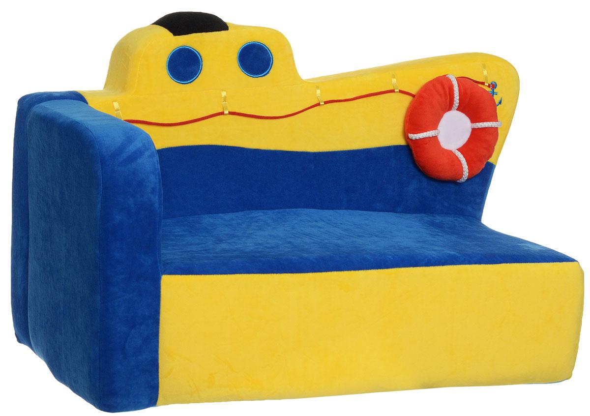 СмолТойс Мягкая игрушка Диван Пароходик 42 смFS-91909Мягкая игрушка СмолТойс Диван Пароходик отлично украсит любую детскую!Особенно он понравится тем малышам, которых манят морские путешествия. Пароходик имеет очень яркую желто-синюю окраску.По форме диванчик отлично подойдет для того, чтобы поставить его в угол комнаты. Он имеет только один подлокотник, а вторая его часть создана в виде выпирающего носа парохода. Диван украшен соответствующим декором: есть окна-иллюминаторы, якорь, подушка-спасательный круг.Диван создан из нетоксичных и качественных материалов, которые прошли проверку на безопасность для детей.