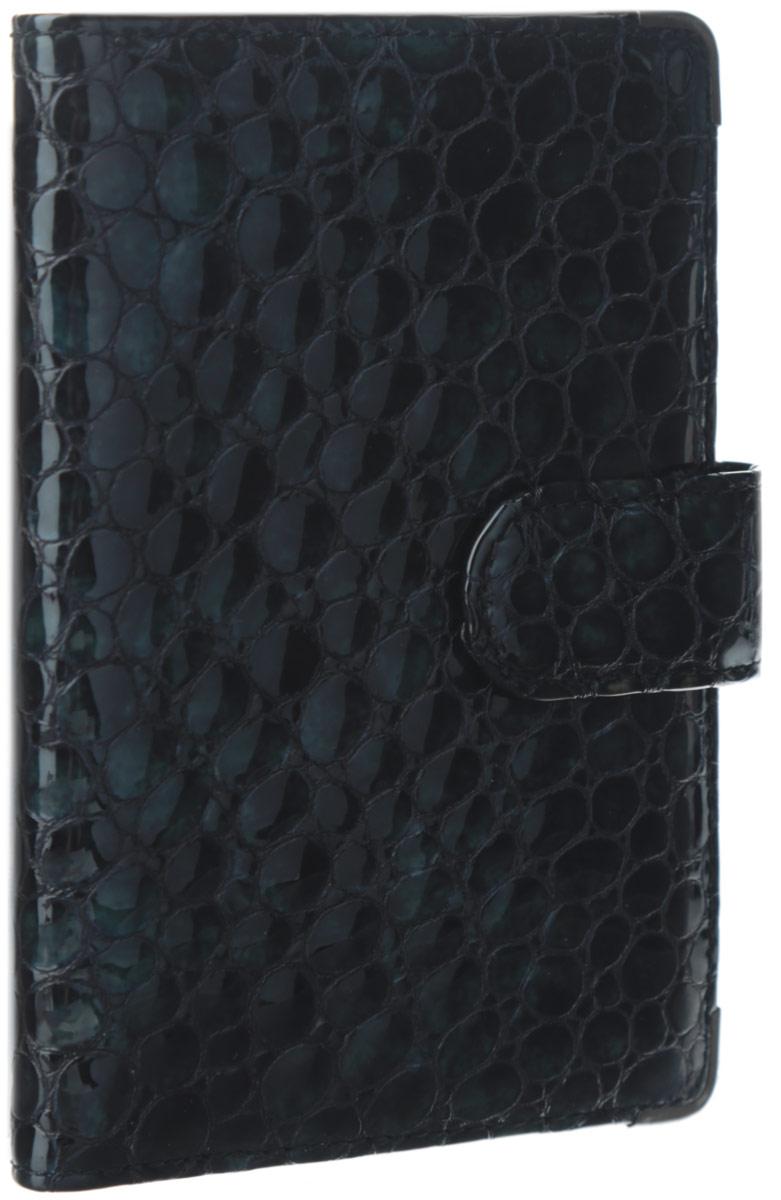 Обложка для документов женская Leo Ventoni, цвет: черно-зеленый. L330222-01A52_108Стильная обложка для документов Leo Ventoni выполнена из натуральной лаковой кожи, оформленной тиснением под рептилию.Изделие раскладывается пополам и закрывается хлястиком на кнопку. Подкладка из полиэстера. Внутри размещены два боковых кармана для паспорта и четыре кармана для кредитных карт. Изделие поставляется в фирменной упаковке.Оригинальная обложка для документов Leo Ventoni станет отличным подарком для человека, ценящего качественные и практичные вещи.