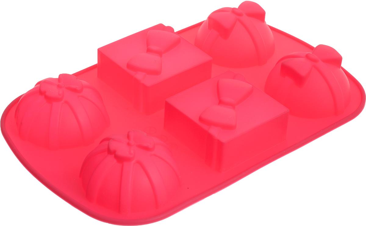 Форма для выпечки Marmiton Подарки, силиконовая, цвет: розовый, 27,5 х 17,5 х 3 см, 6 ячеек16083_розовыйФорма для выпечки Marmiton Подарки, выполненная из силикона в виде различных фигур будет отличным выбором для всех любителей бисквитов и кексов. Форма обладает естественными антипригарными свойствами. Неприлипающая поверхность идеальна для духовки, морозильника, микроволновой печи и аэрогриля. Готовую выпечку или мармелад вынимать легко и просто.С такой формой вы всегда сможете порадовать своих близких оригинальным изделием. Материал устойчив к фруктовым кислотам, может быть использован в духовках и микроволновых печах (выдерживает температуру от 230°C до - 40°C). Можно мыть и сушить в посудомоечной машине.Размер формы для выпечки: 27,5 х 17,5 х 3 см. Размер ячеек: 6,5 х 6,5 х 3 см; 7 х 7 х 3 см.