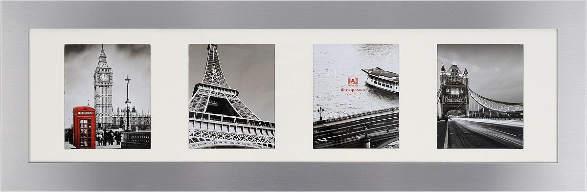 Фоторамка Image Art, на 4 фото, цвет: серебристый. 6027/4-4S41619Фоторамка Image Art - прекрасный способ красиво оформить ваши фотографии. Изделие рассчитано на 4 фотографии формата 10 х 15 см. Фоторамка выполнена из металла и защищена стеклом. Фоторамку можно поставить на стол или подвесить на стену, для чего с задней стороны предусмотрены специальные отверстия.Такая фоторамка поможет сохранить на память самые яркие моменты вашей жизни, а стильный дизайн сделает ее прекрасным дополнением интерьера.Размер окошка для фото: 9 х 11 см.