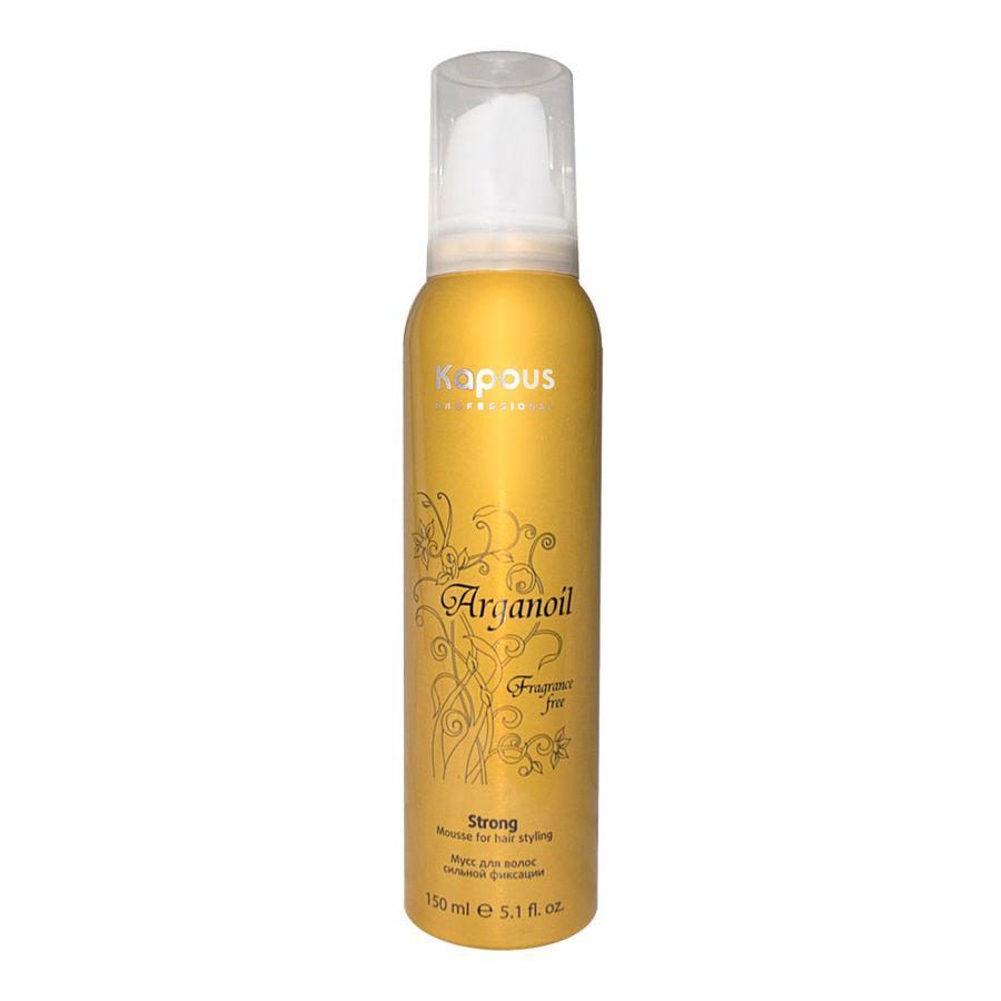 Kapous Мусс аэрозольный для волос сильной фиксации с маслом арганы Arganoil 150 млSatin Hair 7 BR730MNСерия «Fragrance free» не имеет парфюмированных добавок.Мусс для волос сильной фиксации предназначен для всех типов волос. Фиксируя объем, делает любую прическу естественной, обеспечивает длительный результат. Масло Арганы придает волосам естественный блеск, предотвращает иссушение, защищает волосы от воздействия горячего фена и солнечных лучей.