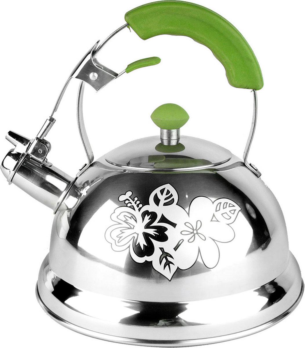 Чайник Mayer & Boch Thermo Print, со свистком, 2,6 лVT-1520(SR)Чайник со свистком Mayer & Boch Thermo Print выполнен из долговечной и прочной нержавеющей стали, которая не окисляется и устойчива к коррозии. Изделие оснащено свистком, благодаря которому вы можете не беспокоиться о том, что закипевшая вода зальет плиту. Как только вода закипит - свисток оповестит вас об этом. Капсулированное дно с прослойкой из алюминия обеспечивает наилучшее распределение тепла. Ручка чайника, а так же ручка крышки изготовлены из специального теплоустойчивого материала, который не обжигает руки. Чайник декорирован изображением цветка. Удобный и практичный чайник отлично впишется в интерьер любой кухни.Чайник подходит для использования на всех типах плит, включая индукционные. Высота стенок чайника: 12 см.Общая высота чайника: 24 см.Диаметр дна чайника: 22 см.Объем чайника: 2,6 л.