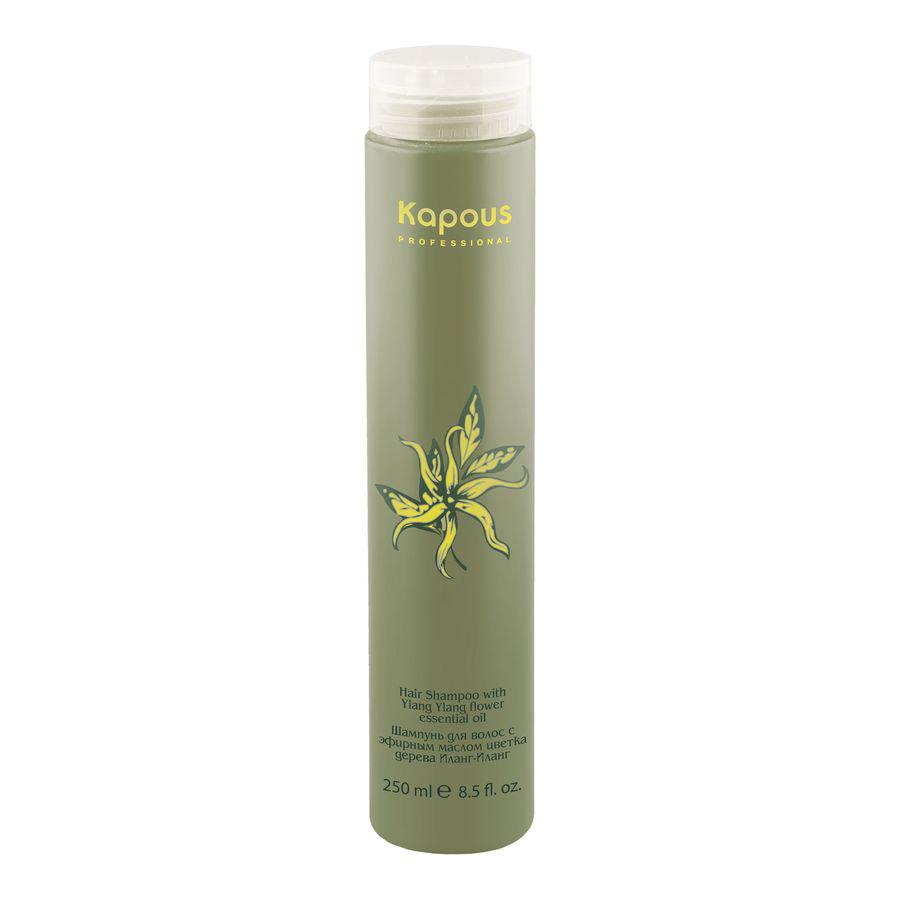 Kapous Professional Шампунь для волос с эфирным маслом Ilang Ilang 250 млCF5512F4Kapous Professional Ilang Ilang Шампунь дляволос с эфирным маслом Иланг-Иланг. В шампунь входит масло цветка дерева Иланг-Иланг Капус и Аргенин, а также экстракт эвкалипта. Этот шампунь отлично ухаживает за волосами, он отлично подойдёт для периодического применения на всех типах волос. Аминокислоты масла хорошо питают структуру волос, при этом они увлажняются. Аминокислоты нужны для нормального питания волос. Экстракт эвкалипта замечательно справляется с воспалениями на коже головы и оградит волосы от влияния вредных радикалов. Шампунь замедлит преждевременное старение волос и предотвращает их выпадение. К тому же он ограждает структуру волос от плохого влияния окружающей среды. При использовании шампуня, волосы будут хорошо поддаваться укладке, они станут эластичными, будут светиться жизненной энергией и обаянием.