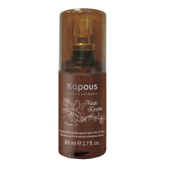 Kapous Флюид для секущихся волос с кератином Magic Keratin 80 млFS-36054Серия «Fragrance free» не имеет парфюмированных добавок. Биоактивные аминокислоты Кератина повышают упругость волос, предотвращая расщепление концов волос. УФ-фильтры защищают от воздействия внешних факторов.