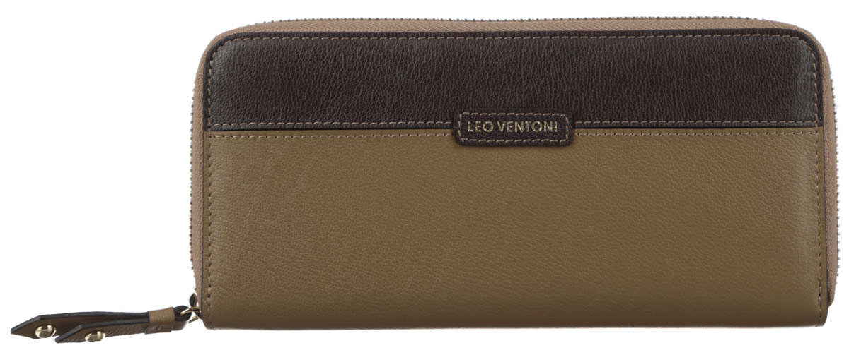 Кошелек женский Leo Ventoni, цвет: темно-бежевый, темно-коричневый. L330433INT-06501Модный женский кошелек Leo Ventoni выполнен из натуральной кожи зернистой фактуры, оформлен вставкой контрастного цвета и нашивкой с принтом в виде логотипа бренда. Внутри - пять отделений для купюр, восемь кармашков для кредитных карт или визиток, отделение для монет на пластиковой молнии и карман с прозрачным пластиковым окошком.Кошелек застегивается на металлическую застежку-молнию. Изделие поставляется в фирменной упаковке.Кошелек Leo Ventoni станет отличным подарком для человека, ценящего качественные и практичные вещи.