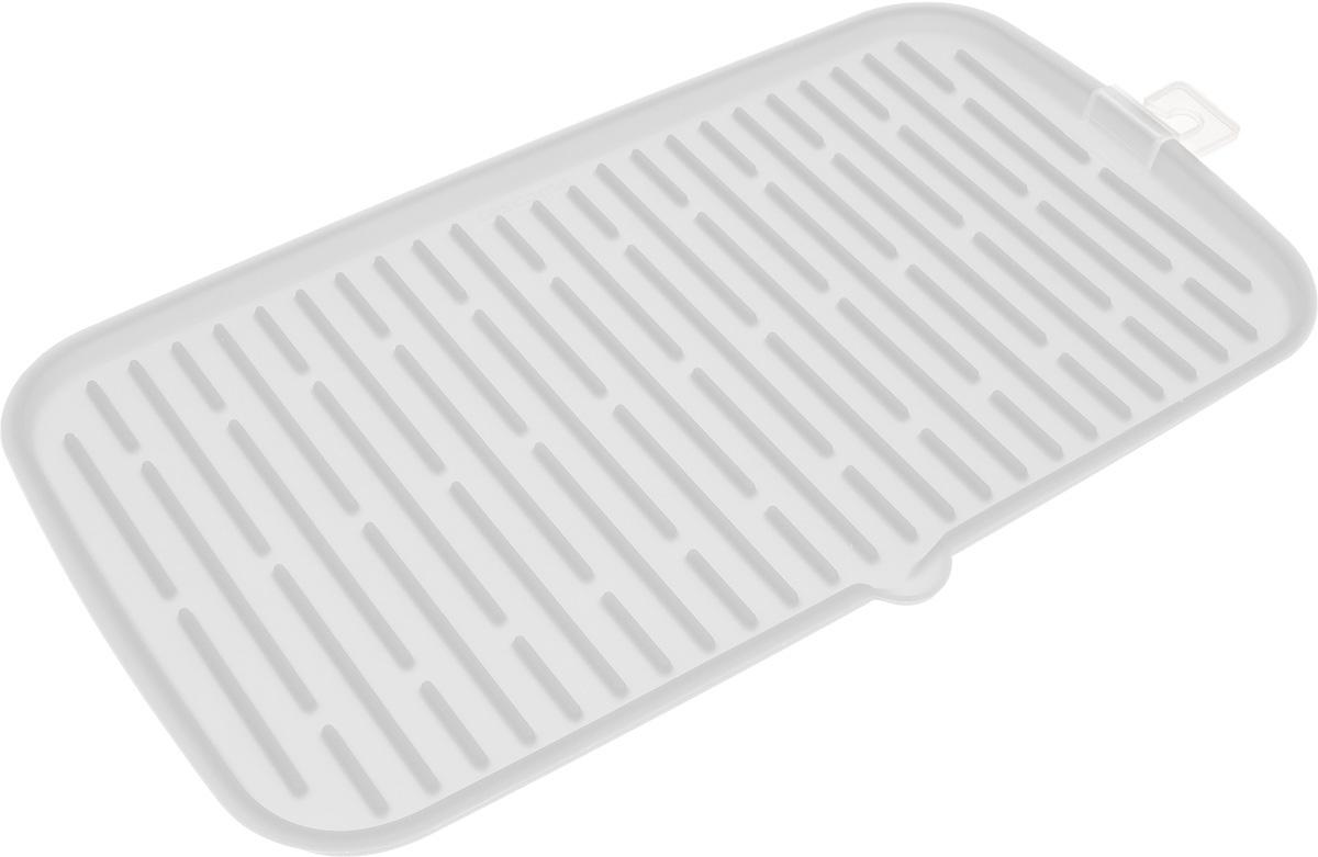 Сушилка для посуды Tescoma Clean Kit, силиконовая, цвет: белый, 42 х 24 смВетерок 2ГФЭластичная сушилка для посуды Tescoma Clean Kit, выполненная из гибкого силикона, защитит кухонную столешницу от влаги. Благодаря ребристой поверхности, которая расположена под наклоном, вода стекает в одну сторону. Направьте боковой носик в раковину и вода будет стекать туда. Если рядом раковины нет, то используйте обратную сторону сушилки, которая будет просто собирать воду внутри. Ваша посуда высохнет быстрее, если после мойки вы поместите ее на легкую, современную сушилку. Сушилка для посуды Tescoma Clean Kit станет незаменимым атрибутом на вашей кухне.