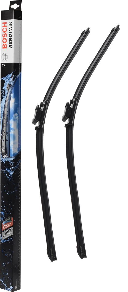 Комплект щеток стеклоочистителя Bosch Aerotwin A960S, 750 мм, бескаркасные, 2 шт80653Комплект щеток стеклоочистителя Bosch Aerotwin A960S предназначен для AUDI A2 (8Z0) 01-05. Бескаркасные стеклоочистители с оригинальным креплением. Даже на высоких скоростях можно положиться на Aerotwin: их аэродинамическая конструкция гарантирует лучший обзор - даже в самых притязательных погодных условиях. В оригинальную программу входит Aerotwin с предварительно установленным, характерным для автомобиля оригинальным адаптером - он прост и быстро устанавливается. Стеклоочистители обеспечивают высочайшее качество очистки. Прекрасный результат очистки в любой точке стекла, благодаря высокотехнологичной пружинной направляющей и аэродинамически оптимизированному профилю. Минимальные шумы ветра, благодаря меньшей площади воздействия встречного воздуха. Улучшенная пригодность к работе в зимних условиях, потому что лед не примерзает к щетке. Стеклоочистители имеют усовершенствованную конструкцию: встроенный аэродинамический спойлер; более продолжительный срок службы; равномерный износ за счет равномерной силы прижима; особенно устойчивы против насекомых и различных загрязнений.