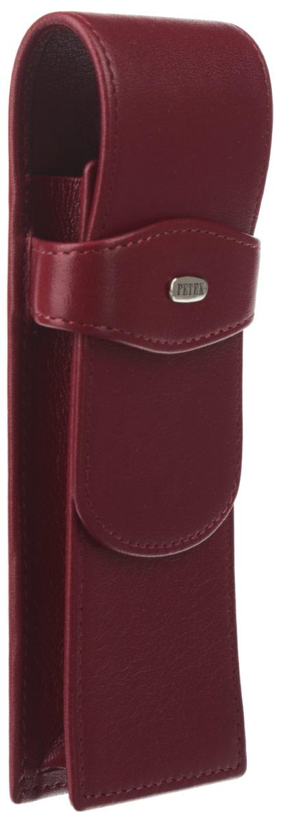 Пенал для ручек Petek 1855, цвет: темно-красный. 612.4000.10 Red72523WDМодный пенал для ручек Petek изготовлен из натуральной высококачественной кожи. Модель оформлена небольшой металлической пластиной с гравировкой в виде названия бренда на лицевой стороне. Изделие закрывается хлястиком, который вставляется в специальное отделение, расположенное спереди. Внутри - два держателя для письменных принадлежностей.Изделие упаковано в стильную фирменную коробку.Эффектный пенал для ручек не только поможет защитить ваши письменные принадлежности от повреждений, но и станет стильным аксессуаром, который внесет изюминку в модный образ.