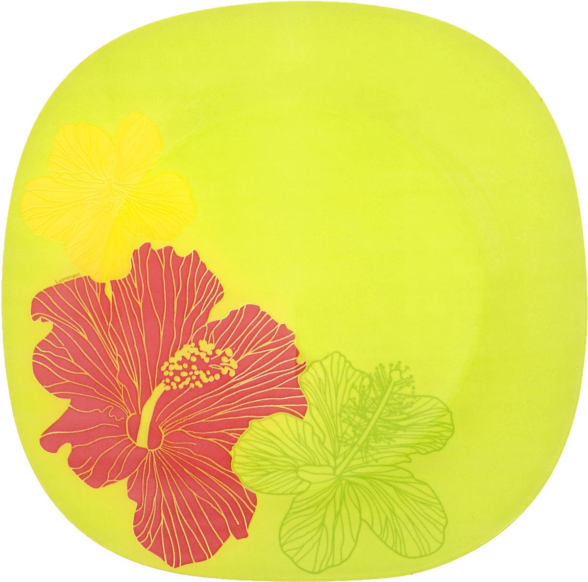 Тарелка Luminarc Hibiscus, 25,5 х 25,5 см54 009312Тарелка Luminarc Hibiscus, изготовленная из ударопрочного стекла, декорирована оригинальным изображением. Такая тарелка прекрасно подходит как для торжественных случаев, так и для повседневного использования. Идеальна для подачи десертов, пирожных, тортов и многого другого. Она прекрасно оформит стол и станет отличным дополнением к вашей коллекции кухонной посуды. Размер тарелки (по верхнему краю): 25,5 х 25,5 см. Высота тарелки: 1,8 см.