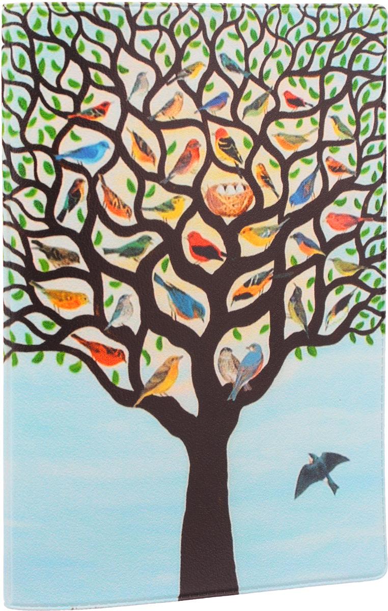 Обложка для паспорта Mitya Veselkov Дерево с птичками, цвет: голубой, черный, зеленый. OZAM117OZAM096Обложка для паспорта Mitya Veselkov Дерево с птичками не только поможет сохранить внешний вид ваших документов и защитить их от повреждений, но и станет стильным аксессуаром, идеально подходящим вашему образу.Обложка выполнена из поливинилхлорида и оформлена принтом с изображением дерева, усыпанного яркими птичками с гнездом по центру. Внутри имеет два вертикальных клапана из прозрачного пластика. Такая обложка поможет вам подчеркнуть свою индивидуальность и неповторимость! Обложка для паспорта стильного дизайна может быть достойным и оригинальным подарком.