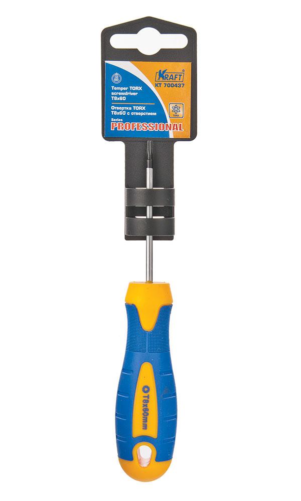 Отвертка TORX с отверстием Kraft Т8х60 КТ 70043780621- Cr-V, двухкомпонентная рукоятка