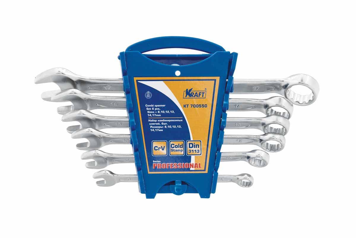 Набор комбинированных ключей Kraft набор 6шт: 8,10,12,13,14,17мм КТ 70055098298130- 6 шт: 8,10,12,13,14,17mm, Cr-V