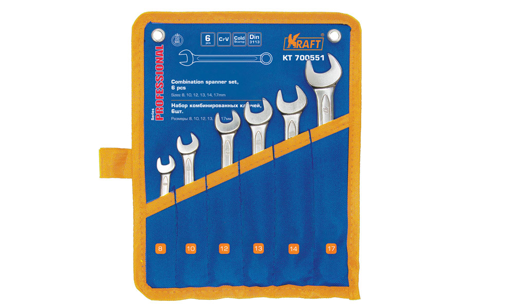 Ключ комбинированный Kraft набор 6 шт: 8,10,12,13,14,17мм КТ 70055180621- 6 шт: 8,10,12,13,14,17mm, Cr-V