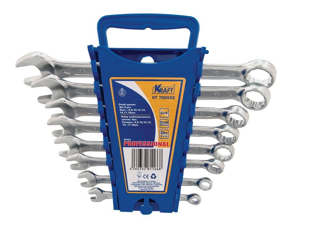 Набор ключей комбинированных Kraft Professional, 8 предметов98298123_черныйНабор комбинированных ключей Kraft Professional станет отличным помощником монтажнику или владельцу авто. Этот набор обеспечит надежную фиксацию на гранях крепежа. Ключи изготовлены из хромованадиевой стали. Профиль кольцевого зева имеет 12 граней, что увеличивает площадь соприкосновения рабочих поверхностей и снижает риск деформации граней крепежа при монтаже. В набор входят пластиковый держатель и ключи на 6, 8, 10, 12, 13, 14, 17, 19 мм.