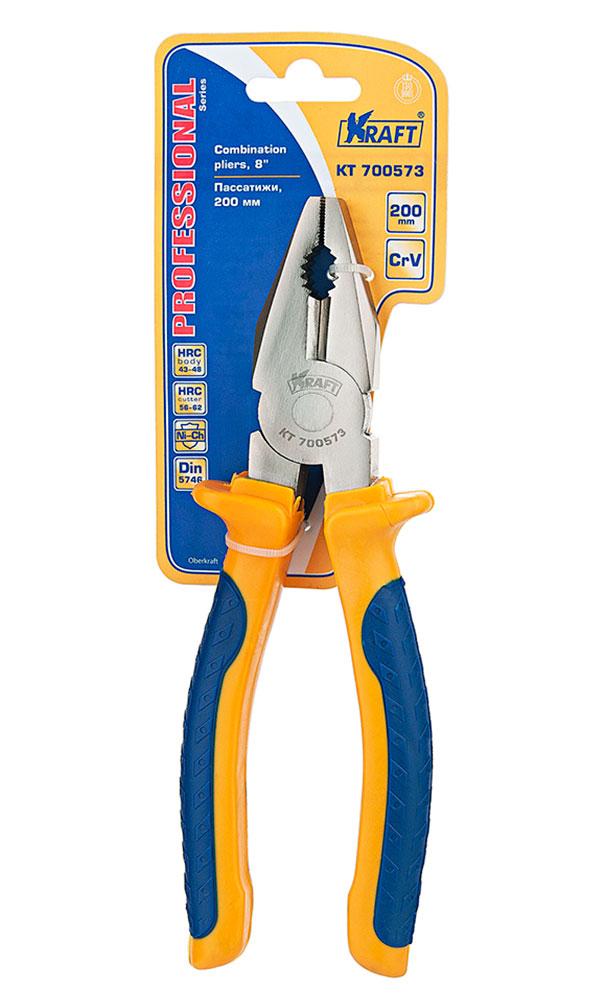 Пассатижи комбинированные Kraft 200 мм КТ 70057380621- Cr-V, двухкомпонентная рукоятка