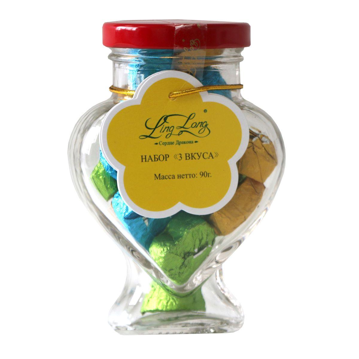 Ling Long набор зеленого молочного и черного листового чая классик, 3 вкуса, 90 г (стеклянная банка)101246В набор Ling Long входят три вида чая: чай зеленый, чай черный Пуэр, чай Улун с ароматом сливок. Спрессован в форме сердечек. Такой чай станет отличным подарком друзьям или близким.