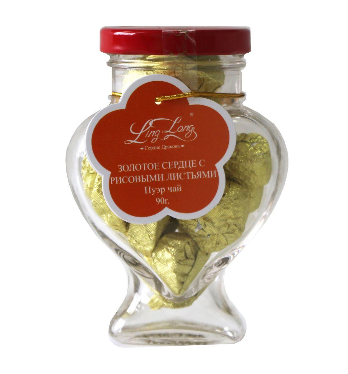 Ling Long Золотое сердце с рисовыми листьями черный листовой чай пуэр, 90 г (стеклянная банка)1583LYЧай чёрный Пуэр байховый китайский крупнолистовой Ling Long Золотое сердце с рисовыми листьями. Спрессован в форме сердечка. Такой чай станет отличным подарком друзьям или близким.