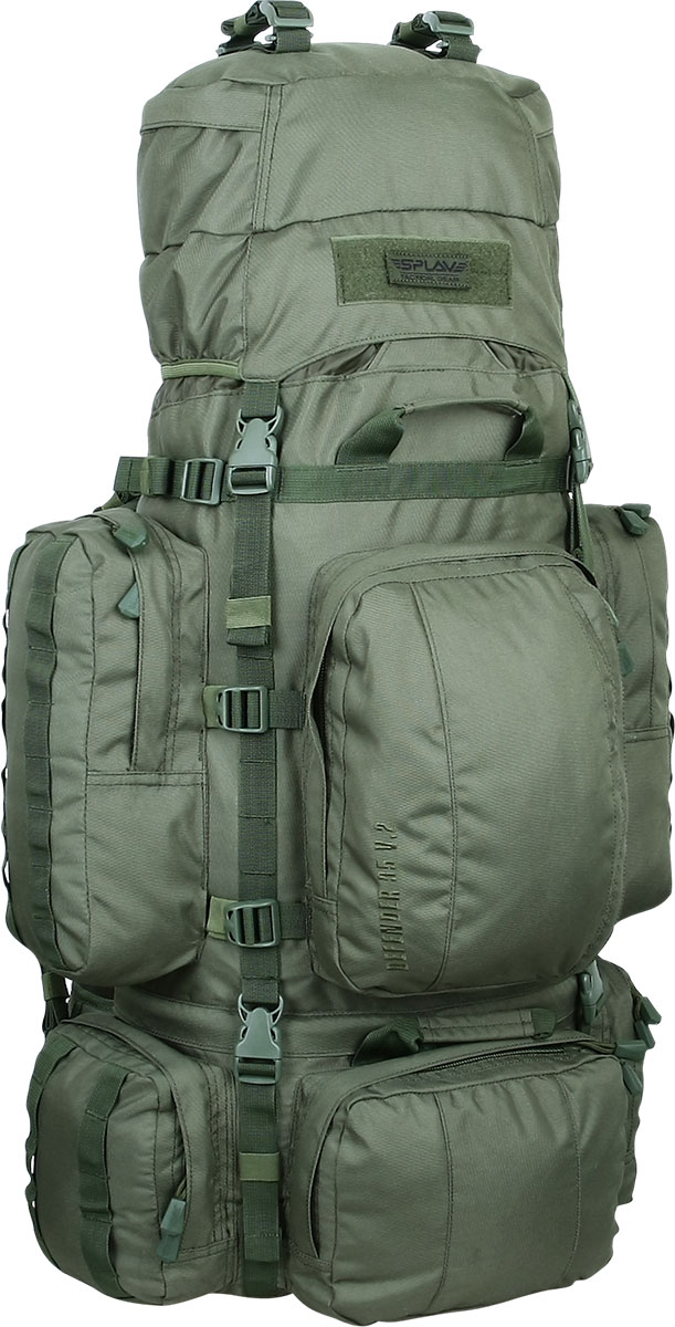 Рюкзак тактический Сплав Defender 95 v.2, цвет: оливковый. 95 л67742Многофункциональный рюкзак с разнообразными внешними карманамиСъемные, регулируемые по высоте лямки. Большая ширина, анатомический силуэт. Благодаря тонкому профилю и плоской поверхности лямки не мешают прикладке оружия. Два слоя пены и сетка Airmesh для мягкости и вентиляции. Верхние оттяжки. Ячейки MOLLE для крепления подсумковCпинка рюкзака благодаря многослойной структуре имеет высокую жесткость и обеспечивает отличную вентиляцию. Внутри вертикальные карманы для съемных латНижний вход в основной объем, с внутренней перегородкой на молнииБоковые стяжки могут проходить как под боковыми карманами, так и поверх них. На поверхности этих карманов петли для продевания штатных или дополнительных стяжекНижние боковые карманы по 1,4 л каждый с кармашками-упорами для длинномерных предметовВерхний фронтальный карман с двумя отделениями: 5,5 лНижний фронтальный карман: 2,5 лДополнительные съемные стяжки для крепления груза на дне и клапанеТри ручки для погрузки/разгрузкиСовместимость с питьевыми системами – внутри имеется отделение для гидратора, петли для подвеса и клапан для вывода трубки. Питьевая система не входит в комплект!Съемный регулируемый по высоте клапан, внешнее отделение на молнии и скрытое отделение под клапаномСъемный широкий пояс. Боковые оттяжки, ячейки MOLLE для навески подсумков
