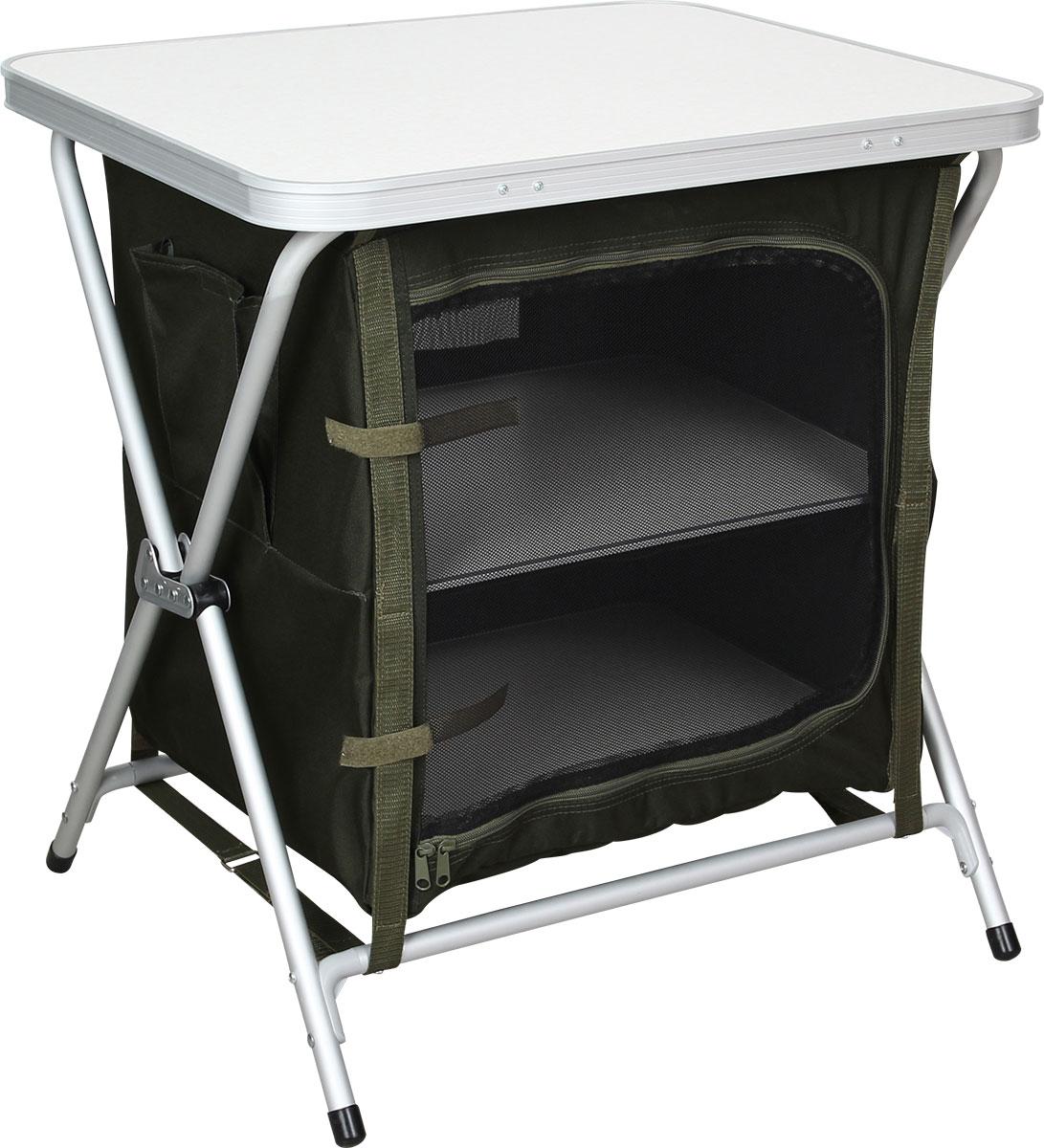 Стол складной Сплав TR - 64, кухонныйBS 33-06Стол складной Сплав TR - 64 - это незаменимый предмет походной мебели, очень удобен в эксплуатации. Складной стол выполнен из алюминия и пластика. Два внутренних отсека для хранения посуды и еды, выполненные из полиэстера, закрываются на молнию. На задней стенке имеется окно из сетки для вентиляции. В комплект входят промежуточные полки из МДФ и удобный чехол для переноски. Стол легко собирается и разбирается, не занимает много места, поэтому подходит для транспортировки и хранения дома. Складной стол прекрасно подойдет для комфортного отдыха на даче или в походе.Вес стола: 5,1 кг.Максимальная нагрузка: 30 кг.Размер в собранном виде: 60 х 52 х 66 см.Размер в упаковке: 62 х 50 х 8 см.Каркас изготовлен из алюминиевой трубы диаметром 19 мм.Столешница изготовлена из МДФ в алюминиевом каркасе.
