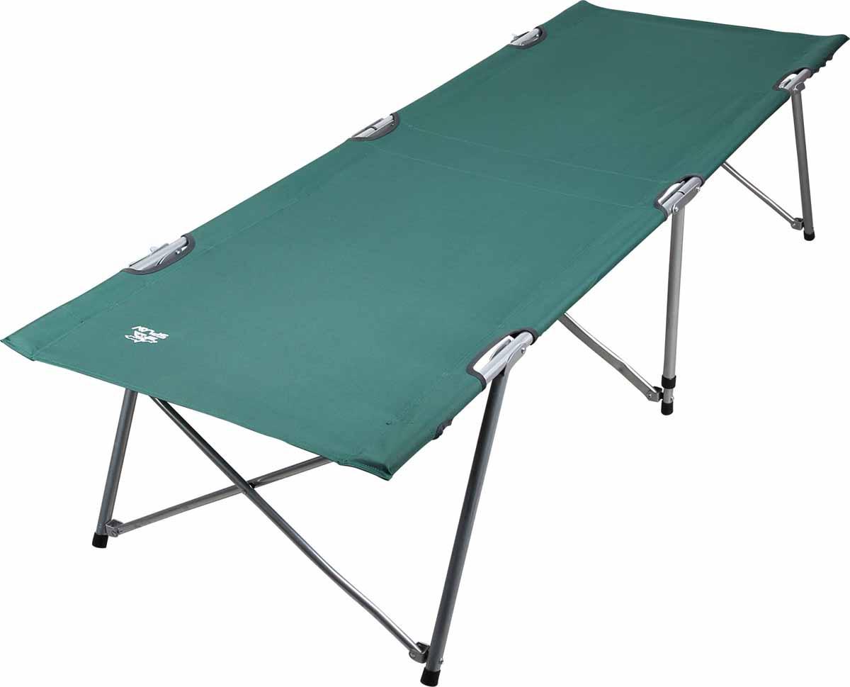 Кровать кемпинговая Сплав BD 190х650411.21Складная кемпинговая кровать для отдыха на природеПроцесс сборки/разборки кровати занимает несколько секундПрочный несущий каркас из стальных трубок, с винтовым и клепочным соединением, позволяет выдерживать вес до 120 кгНожки кровати оснащены пластиковыми упорамиЛежак из крепкого материала Polyester, окантованного капроновой лентой и имеющего двойные швыПоставляется в защитном чехле из прочного материалаЧтобы разложить кровать:Подготовьте предполагаемое место установки кровати, очистив его от посторонних предметов;Расположите каркас кровати вертикально к себе и разведите в горизонтальное положение обе половины кровати;Разложите лежак, одновременно расправляя ножки кровати;Установите кровать на ножки, убедитесь что каркас разложен полностью. Во избежание непроизвольного складывания конструкции убедитесь, что ножки кровати находятся в крайних положениях и зафиксируйте их положение фиксаторами (по одному, у изголовья и ног)Процесс сборки производится в обратном порядке.Рекомендуется использовать кровать на ровной, горизонтальной поверхностиБудьте осторожны и внимательны при раскладывании/складывании кровати, не допускайте попадание пальцев в местах сложения кроватиЗапрещается прыгать и ходить по разложенной кровати! Размер в сложенном состоянии (Д?Ш?В): 95?12?12 смРазмер в разложенном состоянии (Д?Ш?В): 190?65?45 смВес кровати: 7,8 кг