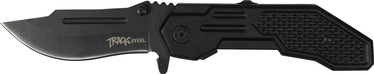 Нож складной Track Steel E510-201.3703Складной нож для ежедневного ношения (EDC) Длина клинка: 80 ммТолщина клинка: 3,3 ммОбщая длина ножа: 210 ммМатериал клинка: сталь 440AРукоять: стальНожны: нейлон