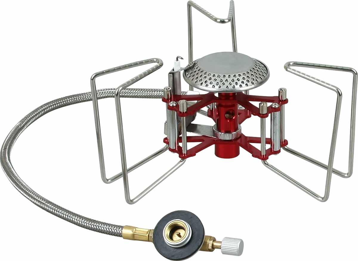 Горелка газовая Track Express, с пьезоподжигом5670220Track Express - оптимальная для походов и путешествий газовая горелка, которая промозглым ранним утром скрасит подъем, а в конце трудного дня поможет быстро приготовить ужин. Мощная, устойчивая, легкая горелка быстро поможет вскипятить воду в любой емкости - от кружки до пятилитровой кастрюли. Изделие компактно пакуется после использования. Три раскрывающиеся опоры обеспечивают устойчивость горелки и позволяют ставить на нее посуду с различной площадью основания. Зубчатые кромки держателей не дают скользить посуде. Узел крепления баллона отделен от горелки 40 сантиметровым топливопроводным шлангом, что в свою очередь повышает ее устойчивость. Система предварительного нагрева топлива гарантирует экономичную стабильную работу, способствует более полному сгоранию газа. Механизм автоподжига на пьезоэлектрическом кристалле упрощает эксплуатацию горелки, а в экстремальных условиях обеспечивает возможность поджечь ее даже очень замерзшими руками или в перчатках. Для горелки подходят баллоны с резьбовой системой крепления или цанговые баллоны при наличии переходника.Расход газа: 185 г/ч.Топливо: сжиженный газ.Вес без чехла: 196 г.