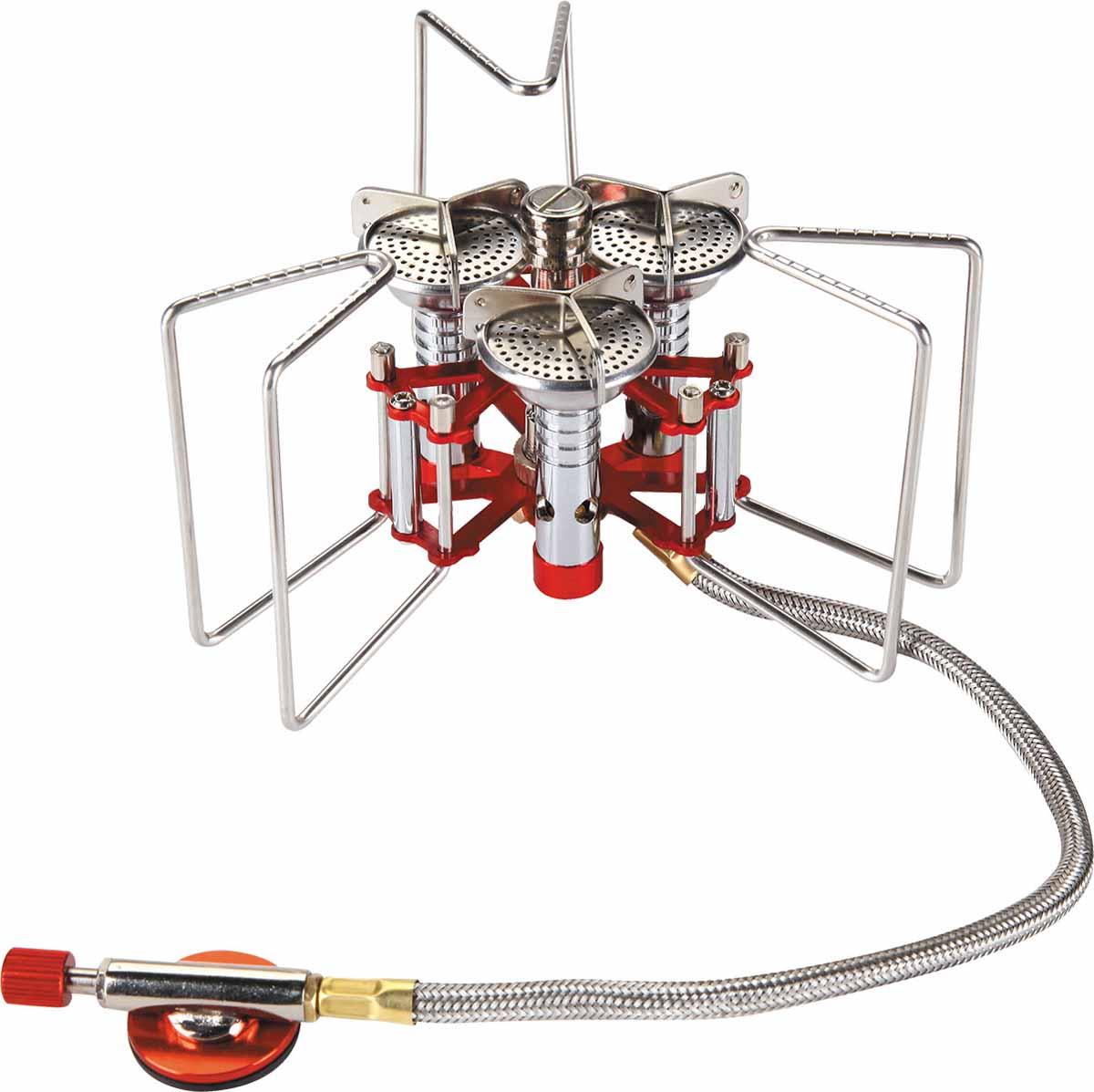Горелка газовая Track Jet, с пьезоподжигом5670220Track Jet - оптимальная для походов и путешествий газовая горелка, которая промозглым ранним утром скрасит подъем, а в конце трудного дня поможет быстро приготовить ужин. Мощная, устойчивая, легкая горелка быстро поможет вскипятить воду в любой емкости - от кружки до пятилитровой кастрюли. Изделие компактно пакуется после использования. Горелка обладает большой мощностью. Ножки выдерживают нагрузку до 25 кг.Зубчатые кромки держателей не дают скользить посуде. Узел крепления баллона отделен от горелки 40 сантиметровым топливопроводным шлангом, что в свою очередь повышает ее устойчивость. Система предварительного нагрева топлива гарантирует экономичную стабильную работу, способствует более полному сгоранию газа. Механизм автоподжига на пьезоэлектрическом кристалле упрощает эксплуатацию горелки, а в экстремальных условиях обеспечивает возможность поджечь ее даже очень замерзшими руками или в перчатках. Расход газа: 230 г/ч.Топливо: сжиженный газ.Вес без чехла: 298 г.