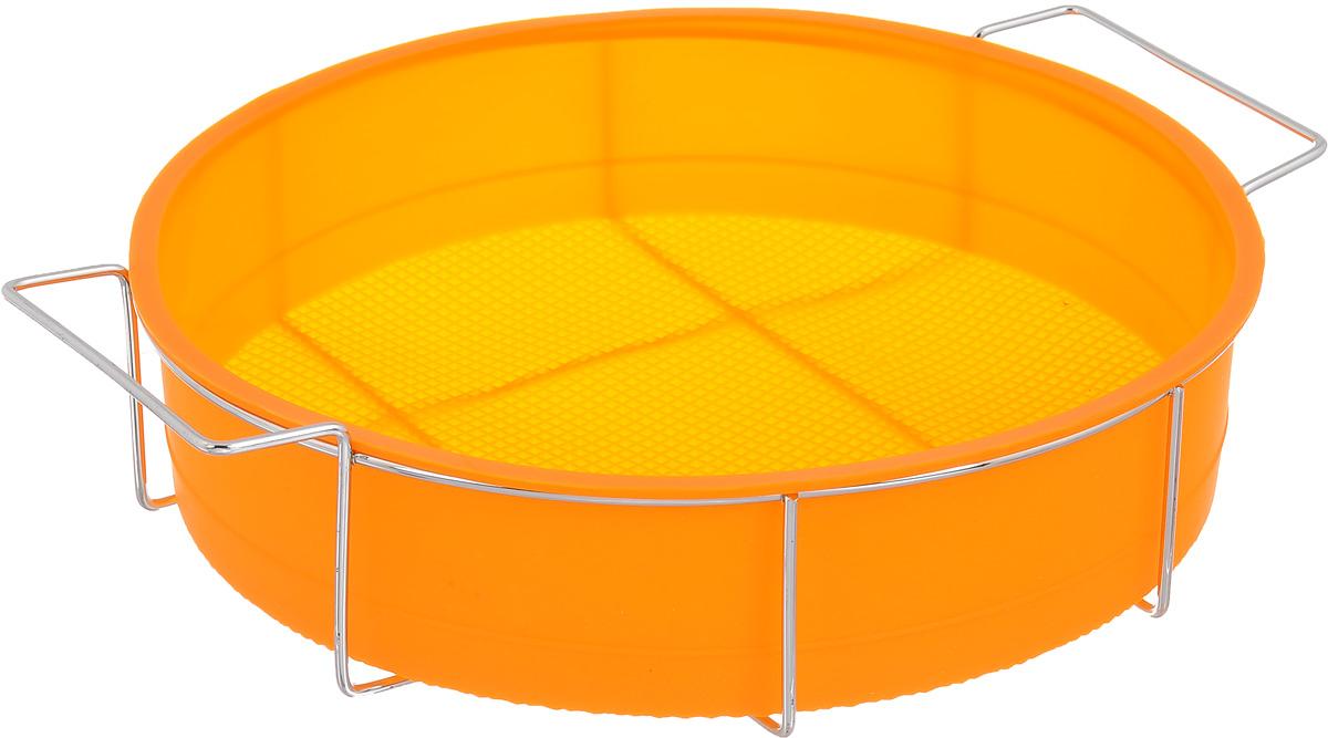 Форма для выпечки Marmiton Круг, силиконовая, на подставке, цвет: оранжевый, диаметр 26 см16047_оранжевыйФорма для выпечки Marmiton Круг, выполненная из силикона, предназначена для приготовления выпечки, пудинга, запеканок и желе. Изделие не взаимодействует с продуктами питания и не впитывает запахи, как при нагревании, так и при заморозке. Готовую выпечку или пудинг извлекать из формы легко и просто.С такой формой вы всегда сможете порадовать своих близких оригинальным изделием. Материал устойчив к фруктовым кислотам, может быть использован в духовках и микроволновых печах (выдерживает температуру от 240°C до - 40°C). Можно мыть и сушить в посудомоечной машине. В комплекте металлическая подставка.Диаметр формы: 26 см. Высота формы: 6 см.Размер подставки: 31 х 25 х 7,5 см.