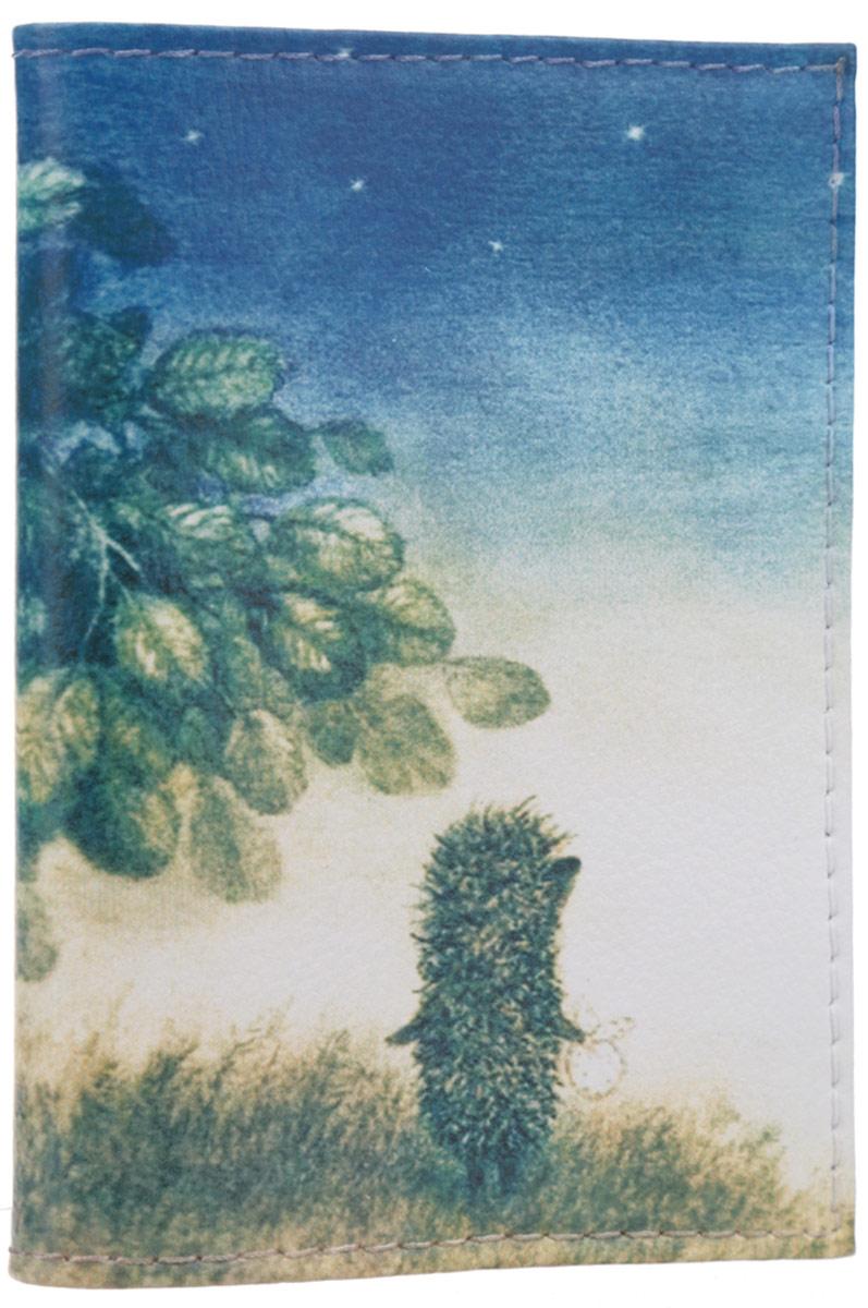Визитница Mitya Veselkov Ежик ночью, цвет: молочный, синий, коричнево-зеленый. VIZIT-010B16-11416Оригинальная визитница Mitya Veselkov Ежик ночью прекрасно подойдет для хранения визиток и пластиковых карт. Визитница выполнена из натуральной кожи и оформлена изображением персонажа мультфильма Ежик в тумане. Внутри содержатся съемный блок из прозрачного мягкого пластика на восемнадцать визиток и два прозрачных боковых кармана.Стильная визитница подчеркнет вашу индивидуальность и изысканный вкус, а также станет замечательным подарком человеку, ценящему качественные и практичные вещи.