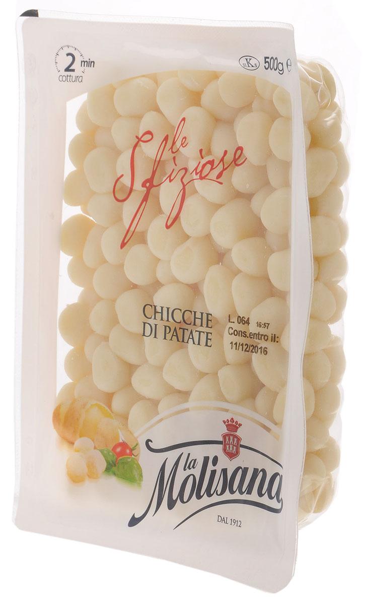 La Molisana Chicche Di Patate картофельные ньокки (клецки мелкие), 500 г0120710Картофельные ньокки являются типичным блюдом итальянской кулинарии. Ньокки восхитительны с любым соусом, будь это просто растопленное сливочное масло с шалфеем и пармезаном, сыром горгонзола или песто генуэзский.Способ приготовления: поместить клецки в кипящую подсоленную воду. Когда они всплывут слить воду и приправить желаемым соусом.